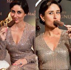 Kareena Kapoor promoting magnum ice cream.