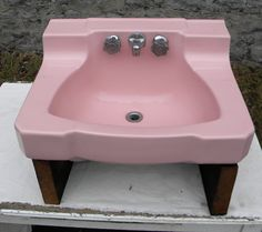 """So love this!!  VBS012713-04 Nice little pink late 1950's shelf back bathroom wall mount sink in good condition. 22 ½"""" W by 18 ½"""" D. $150.00 Vintage Sink, Vintage Walls, Old Sink, Wall Mounted Sink, Love Chair, Just Amazing, Bathroom Wall, Sinks, Shelf"""