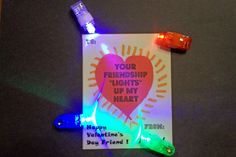 """Class Valentine Idea.  Your Friendship """"Lights"""" up My Heart...Finger lights (or any light up object)...hand drawn valentine regenerated via computer and printer"""
