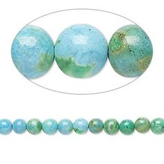 Bead, magnesite (dyed / stabilized), blue and green, 3-4mm round, C grade, Mohs hardness 3-1/2 to 4. Sold per 15-inch strand.