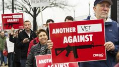 Here is a picture of a group of people protesting against guns. You could see here that even a veteran thinks that the laws need to be changed. All it takes is a group of people to be heard by the government.   (courtesy of @Pinstamatic http://pinstamatic.com)