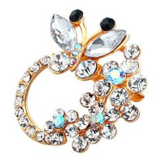f5a7088c970 Pugster Butterfly Flower Clear White Swarovski Crystal Diamond Accent Brooches  Pins Pugster. $14.99. Exquisitely