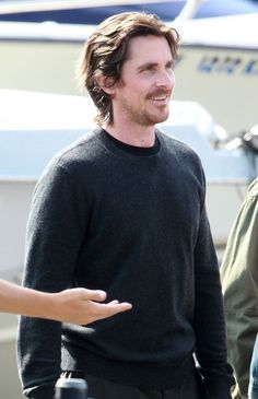Christian Bale on set of Knight of Cups