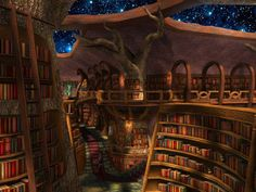 Medieval and Fantasy Library Fantasy Rooms, Fantasy Places, Fantasy World, Fantasy Art, Jellal, Fairytail, Library Room, Dream Library, Future Library