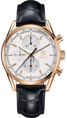 TAG Heuer Carrera Calibre 1887 Automatic Chronograph $12,675 #TAGHeuer #watch #watches #luxury #chronograph pink gold case with crocodile skin bracelet and automatic movement