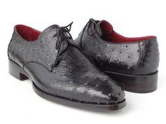 Paul Parkman Men's Black Genuine Ostrich Derby Shoes (ID