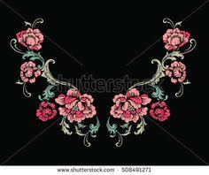Floral neck embroidery design. Vector illustration.