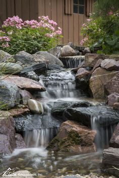 Backyard waterfalls can accomplish a variety of landscaping needs. #landscapedesign #watergarden #waterfeature #aquaticplants