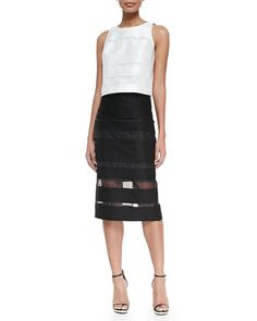 -5RCN Milly Striped Fil Coupe Sleeveless Top & Striped Fil Coupe Midi Pencil Skirt