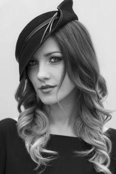 Black Tilt Hat www.maggiemowbraymillinery.com #millinery #judithm #hats