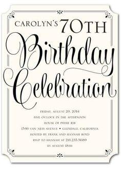 Classy Affair - Adult Birthday Party Invitations in Black or Cobalt Birthday Invitation Card Template, Birthday Party Invitation Wording, Personalized Birthday Invitations, Invitation Ideas, 75th Birthday Parties, Adult Birthday Party, 70th Birthday, Birthday Ideas, Birthday Celebrations