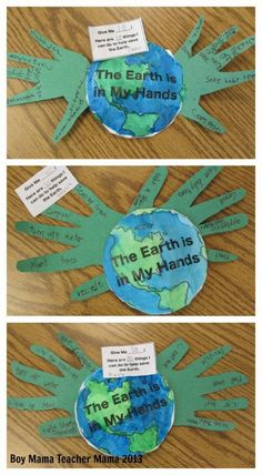 Earth The earth is in my hands craft ~ Boy Mama Teacher Mama - Earth Day Activity UPDATED TEMPLATE NOW AVAILABLE! Earth Day is right around the corner and I have been trying and trying to come up with an idea that hasn't been done yet- not an easy task. Earth Day Activities, Holiday Activities, Classroom Activities, Preschool Activities, Kindness Activities, Primary Classroom, Educational Activities, Earth Craft, Earth Day Crafts