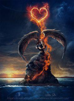 Impossible Love by jugatatinhas kunst engel jugatatinhas's DeviantArt gallery Dark Fantasy Art, Fantasy Kunst, Fantasy Artwork, Male Angels, Angels And Demons, Ange Demon, Demon Art, Fantasy Creatures, Mythical Creatures