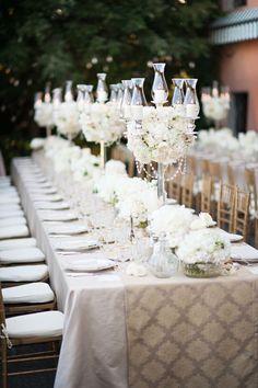 Wedding Tables - Pure Elegance. See the wedding on http://www.StyleMePretty.com/destination-weddings/italy-weddings/2014/04/03/american-scottish-destination-wedding-in-tuscany/ Photography: MagnusBogucki.com