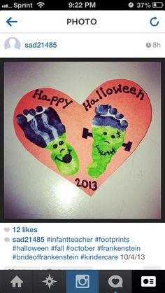 Halloween footprint art project