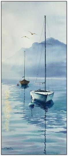 35 Easy Watercolor Landscape Painting Ideas To Try - Cartoon District Watercolor Painting Techniques, Watercolor Landscape Paintings, Seascape Paintings, Landscape Art, Watercolor Landscape Tutorial, Watercolor Sea, Watercolor Drawing, Watercolor Illustration, Sailboat Painting