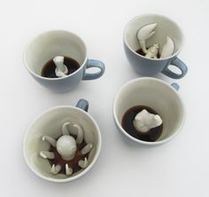 great are these cups from creaturecups on Etsy? Imagine the comments you'd get as your guests got to the bottom of their coffee, only to discover an octopus. Or the delight you'll get each morning from the unexpected presence of a lobster. You can buy your favorite individually, or buy them as this set featured above. Either way, happy drinking!