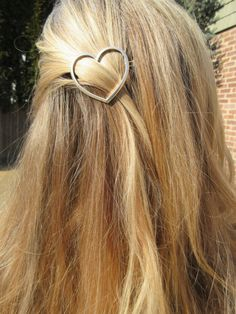 Simple Silver Heart Hair Barrette Accessory Ponytail by fooshfarm