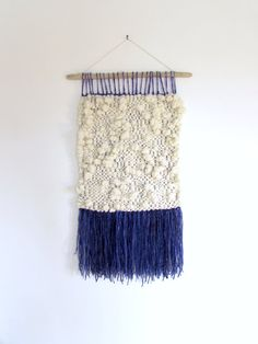 SALE ! INDIGO DREAM // woven wall hanging / wall weaving / woven wall art / yarn tapestry / yarn wall art / wall tapestry