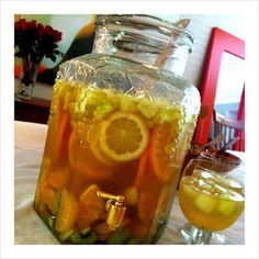 I love Pinot! This sounds awesome!    1 bottle of Ramona Pinot Grigio      1/3 cup of sugar to taste sugar       3 oranges sliced      1 lemon sliced      1 lime sliced      1 liter of ginger ale or club soda