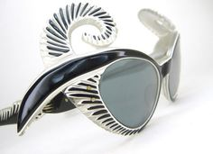a0ba007b40 Vintage 1950s Shuron black pearl cello cateye pin-up eyeglasses frames with mosaic  adorned sdes