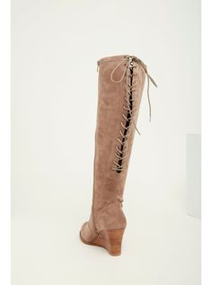 7d082da603b Faux Suede Lace Up Back Wedge Boots (Wide Width   Wide Calf)