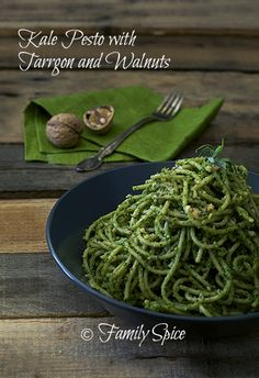 Kale Pesto with Tarragon and Walnuts ~ What a deliciously unique take on pesto, loaded with delicious nutrition! ~ by familyspice.com