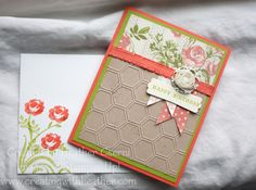 Calypso Coral, Lucky Limeade, Tea for Two dsp, honeycomb embossing folder, calypso coral ribbon, vanilla flower trim