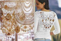 DICAS DE MODA Nas dicas de moda que tenho publicado no facebook, algumas imagens sugerem a conjugação de tecido com materiais diversos ou a utilização de t