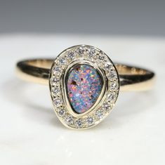 Natural Australian Boulder Opal and Diamond  Gold Ring Size 7.25 Code - JRL18 Gold Diamond Rings, Gold Rings, Gemstone Rings, Opal Color, Green Opal, Australian Opal, Gold Engagement Rings, Opal Jewelry