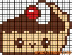 Kawaii pie perler bead pattern - could be used for cross stitch