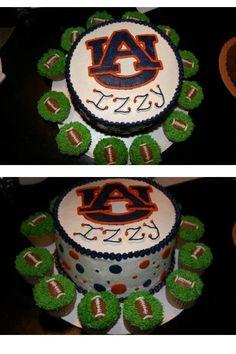 Auburn Cake with football cupcakes #ultimatetailgate #Fanatics