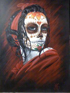 Image detail for -Beautiful Sugar Skull Lady Dia De Los Muertos Tattoo Sugar Skull Girl, Sugar Skull Makeup, Sugar Skulls, Cowgirls, Los Muertos Tattoo, Sugar Skull Painting, Day Of The Dead Girl, Buffalo Skull, Candy Skulls