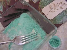 Etched Verdigris Embossing (& easy DIY embossing powder) ---- Do it Yourself Embossing Powder:    This leaves a residue of pearlex, which sounds bad, but it's GOOD! ;0) That residue wipes away to leave you with a gorgeous subtle glitter on your cardstock. How to:  Add pearlex to clear embossing powder  Mix until clumps are gone (I like to use a fork)