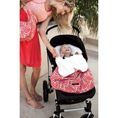 Petunia Pickle Bottom - Stroll in Almond Raspberry - stroller bunting bag - wind-resistant luxurious Chenille exterior and soft velour-lined interior