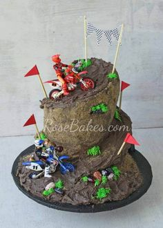 Sure, the motorcycles are plastic on this cake, but boy does that mountain they…