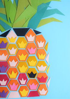 Summer has arrived and I am ready for some new artwork around the house! I love switching decor up each season to keep things fresh. Vibrant colors and fruity patterns always speak to me during the… Pineapple Art, Pineapple Design, Geometric Artwork, Abstract Shapes, Diy Artwork, Arts Award, New Art, Paper Art, Art Projects