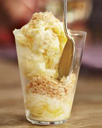 This would be WONderful on a hot summer day in Visalia or San Jose! Coconut-Mango Frozen Yogurt Recipe from Food & Wine
