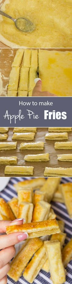 Apple Pie Fries Recipe - Yummy, crispy and healthy apple fries tossed with cinnamon and sugar (Southern food, desserts, recipes) Apple Recipes, Sweet Recipes, Easy Recipes, Just Desserts, Dessert Recipes, Apple Desserts, Fried Apple Pies, Cuisine Diverse, Apple Fries