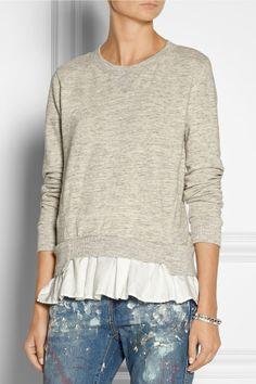 Ruffled-hem cotton-terry sweatshirt