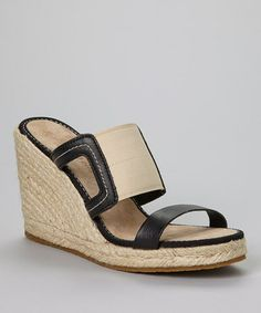 Another great find on #zulily! Black Rivulet Leather Wedge Slide- Women #zulilyfinds