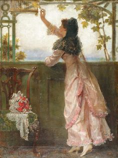 Jerry Barrett (1824 - 1906) - A lady with a canary in an interior