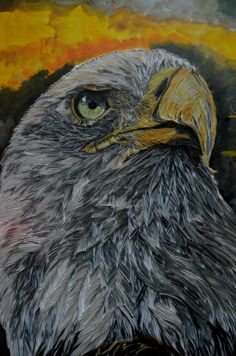 """Eagle"", Optic 3d effect Paper Art (new concept Art by artist Gulalek Esenowa-""GTnArt,""Work  done in 8 days only with SMALL PIECES OF PAPER! ),background acrylic paint;size 60x70sm;   #3dpaperart #3dart #opticart #opticpaperart #artbypaper #gtnart #uniqueart #eagle"