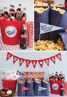 """concession stand"" peanuts, cracker jacks, cotton candy, popcorn, coke in bottle, root beer, lemonade"