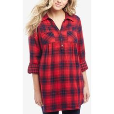 025c7c203b5a6 Motherhood Maternity Plaid Shirt ( 40) ❤ liked on Polyvore featuring tops
