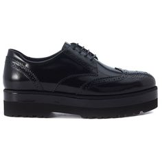 Route Derby Lace Up Oxford Shoes in Black Brushed Leather (7 700 UAH) ❤ liked on Polyvore featuring shoes, oxfords, nero, womenshoes, black laced shoes, platform oxford shoes, black lace up shoes, black shoes and leather oxfords