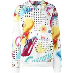 Jeremy Scott pin-up print hoodie (290 AUD) ❤ liked on Polyvore featuring tops, hoodies, multicolor, colorful hoodie, patterned hoodies, jeremy scott hoodie, print hoodie and cotton hoodies