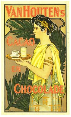 Clearly an Art Deco (Art Nouveau/Jugendstil) Poster for Van Houten Chocolate (Dutch Cacao) drinks. Circa 1905.
