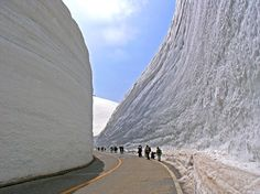 """""""The Tateyama Kurobe Alpine Route is a unique and spectacular route through the Northern Japan Alps, which is traversed by various means of transportation, including cable cars, trolley buses and a ropeway. The route is particularly famous for the high snow walls that line some of its roads.""""  The snow can be 20 meters (65.5 feet) high!    - photo by Seima I, via Panoramio, on Amusing Planet"""