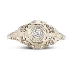 Art Deco Solitaire Filigree Old European Diamond In 14K White Gold by shopGerardLeon